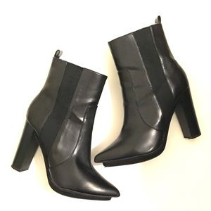 Zara Leather Block Heel Pointed Elastic Booties